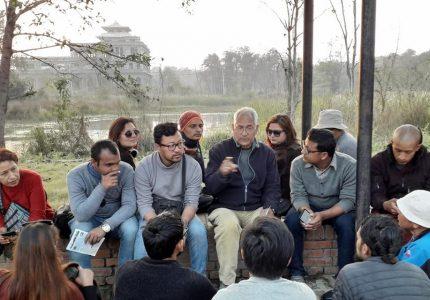 Basanta Bidari and Archaeology Students - Photo by Madan Rimal